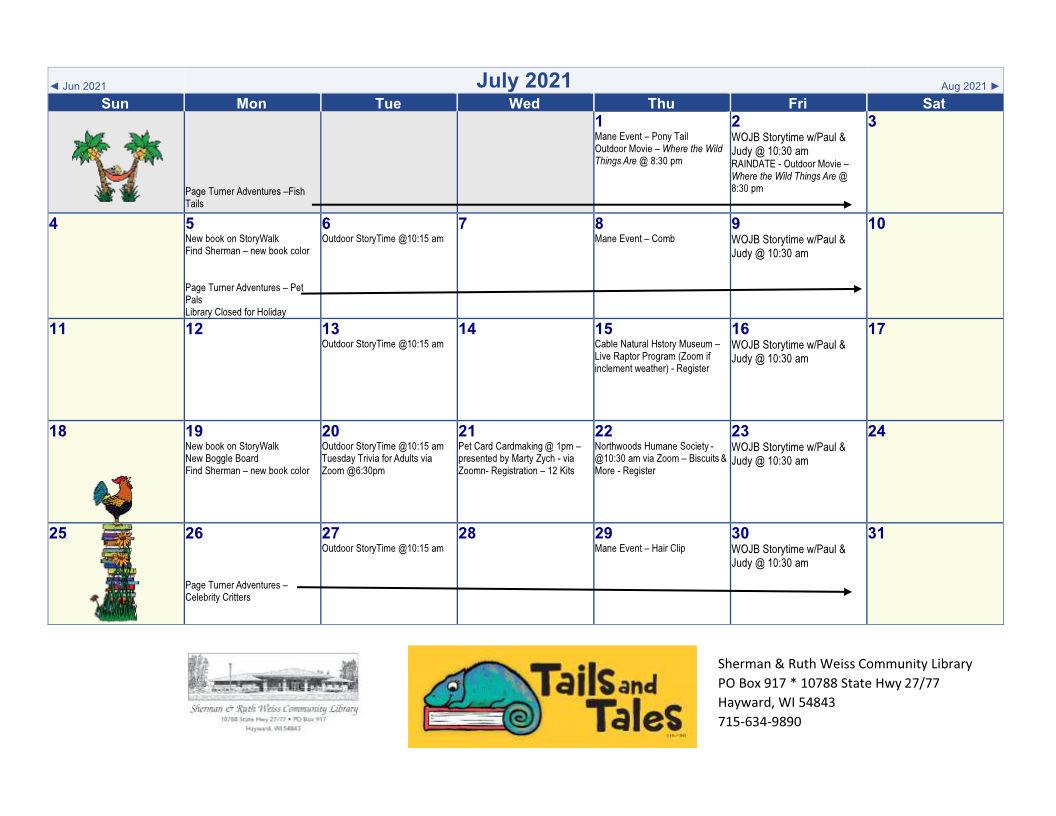 June 2021 library events